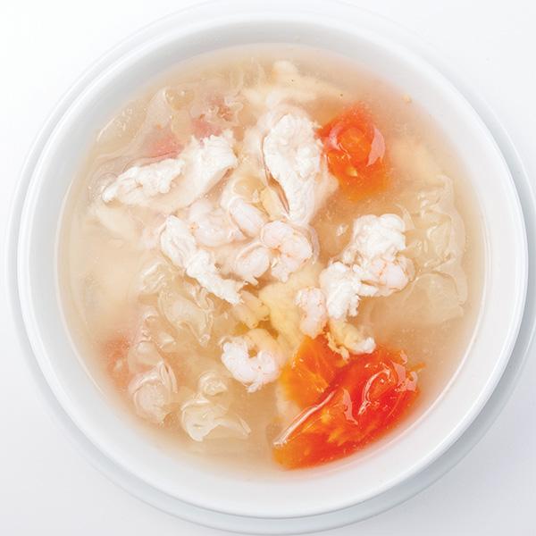 B-6 Krevečių ir vištienos sriuba su baltais grybais