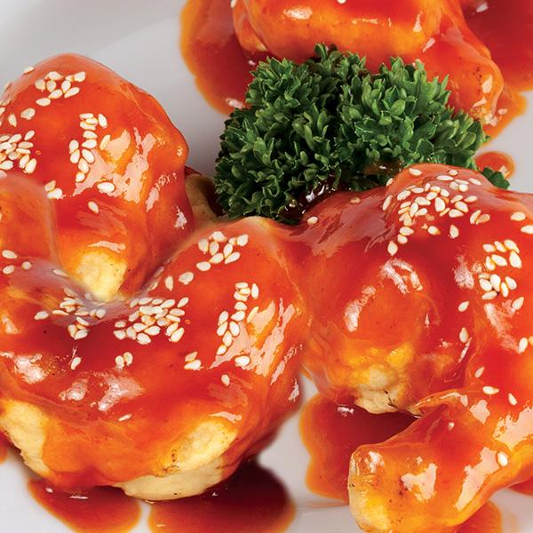 G-6 Karališkos krevetės saldžiarūgščiame pomidorų padažu